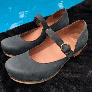 Dansko Missy Navy Milled Nubuck Mary Jane Shoes